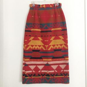 High Waist Vintage Wool Native Print Skirt